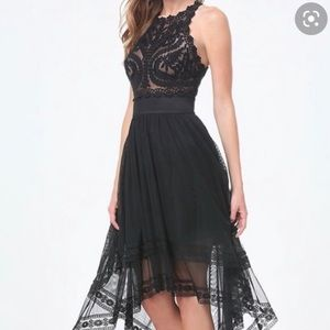 Bebe Hi-Lo Embroidered Tulle Dress